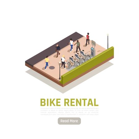 Bike rental isometric composition with some available bicycles for rent at station and cashier machine for payment Ilustração