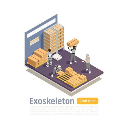 Warehouse isometric composition with workers using exoskeleton as scientific achievement of bionics technologies Illustration