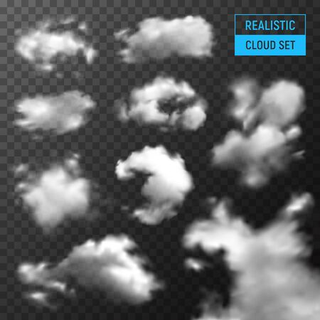 Clouds various types and shapes realistic set with stratus cumulus against dark transparent background monochrome vector illustration