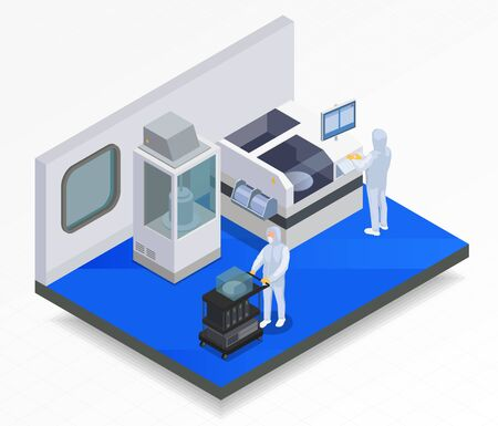 Semiconductor chip production isometric composition with indoor view of laboratory and workers with hi-tech machinery vector illustration