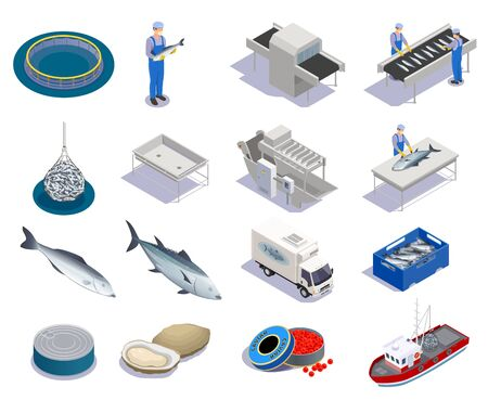 Fish industry seafood production isometric set with isolated icons of sea products and conveyors with people vector illustration Ilustração Vetorial