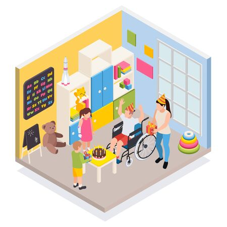 Disabled people family life parenting  isometric composition with farther in wheelchair celebrates little son birthday