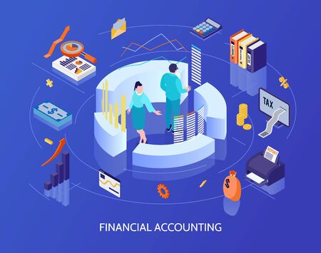 Financial accounting isometric background with calculator tax cash report graphs and charts icons vector illustration Vecteurs