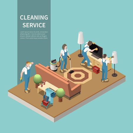 Professional home cleaning service team at work vacuuming carpet dusting lcd tv screen isometric composition vector illustration