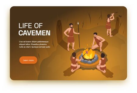 Caveman prehistoric primitive people horizontal banner with learn more button editable text and indoor cave scenery vector illustration