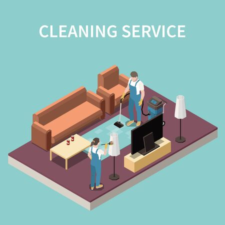 Professional home cleaning service team at work vacuuming carpet dusting floor lamp lampshade isometric composition vector illustration