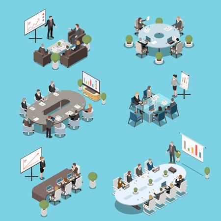 Modern conference meeting room elements isometric set with boardroom tables participants white board presentations isolated vector illustration