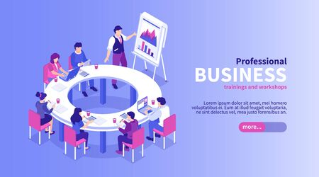Isometric business training horizontal banner with editable text slider button and group of workers at meeting vector illustration