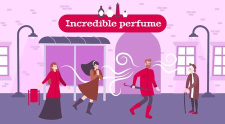 Perfume odor background with incredible perfume symbols flat vector illustration Illustration