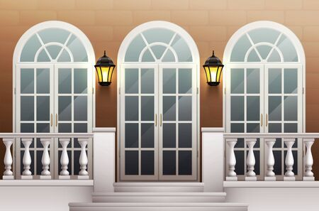 Classic palace facade with glass front door porch and terrace with balustrade realistic background vector illustration