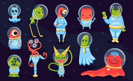 Kids game collection of colored monsters and aliens cartoon characters on dark background isolated vector illustration