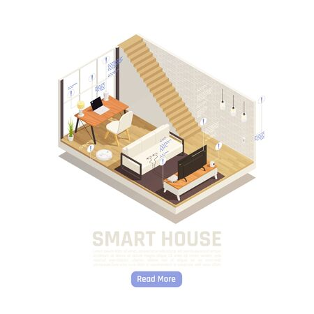 Internet of things isometric design concept illustrated interior of living room equipped with router robot cleaner smart tv speaker assistant vector illustration