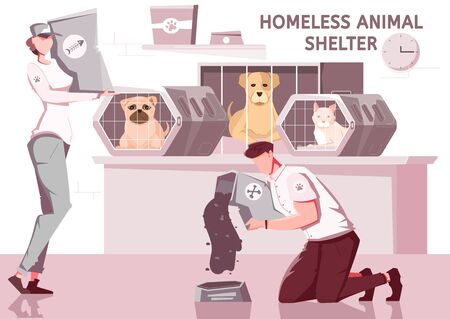 Homeless animal help flat composition with pets in cages and workers volunteers in uniform with text vector illustration