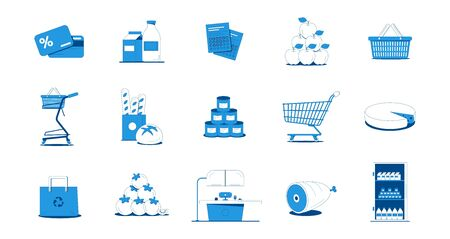 Grocery shopping flat icons set with blue and white vegetables bread meat fruit dairy products bag cards cart isolated on white background vector illustration