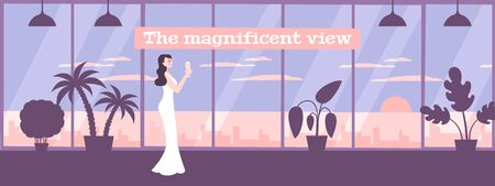 Panoramic windows with large glass sections providing magnificent cityscape view flat composition with young lady vector illustration