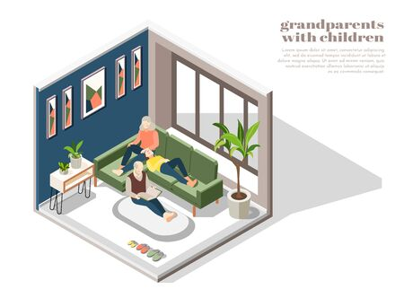 Grandparents with children in home interior with grandmother grandfather and granddaughter reading book together  isometric vector illustration