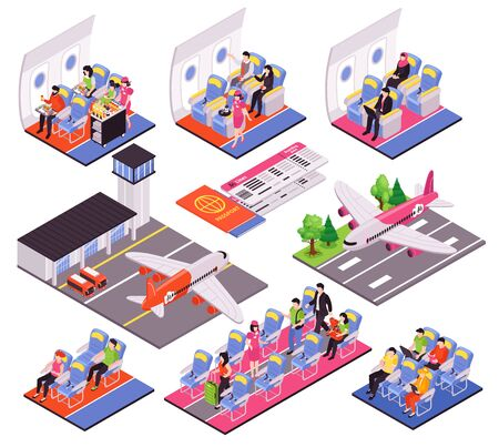 Air travel 9 isometric compositions set with airport terminal landing airplane interior flight attendant passengers vector illustration  矢量图像