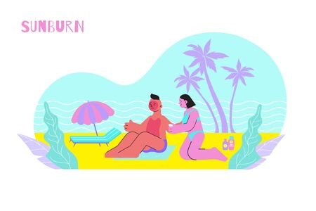 Sunburn flat composition with human characters of young couple sunbathing on beach with first aid cream vector illustration
