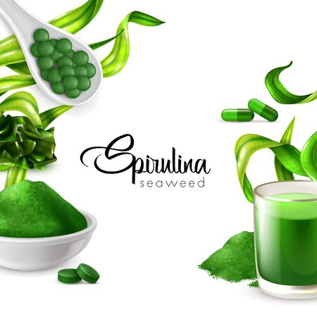 Realistic spirulina frame background with editable ornate text surrounded by water plant images and food products vector illustration Illustration