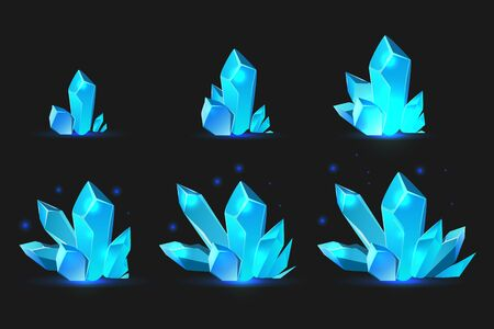 Colored and isolated mineral growth game icon set six stages of growth vector illustration Vektorgrafik