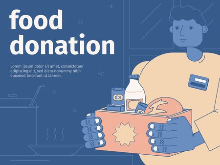 Food donation flat background with man holding box with products vector illustration 向量圖像