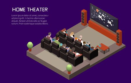 Cinema isometric background with editable text and composition of domestic tv screen audio system and auditorium vector illustration  イラスト・ベクター素材