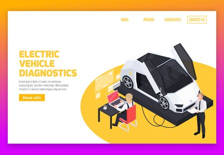 Electric vehicles operation remote diagnostic services battery charge management and rejuvenation system isometric web banner vector illustration