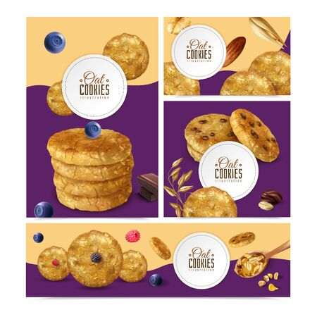Realistic oat cookies set with banners of different size with editable text frames and biscuit images vector illustration