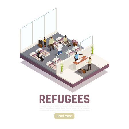 Refugees stateless people asylum seekers center interior isometric composition with reception and housing unit vector illustration