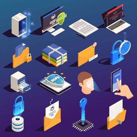 Privacy data protection gdpr isometric icon set with isolated images and 3d pictograms of electronic devices vector illustration