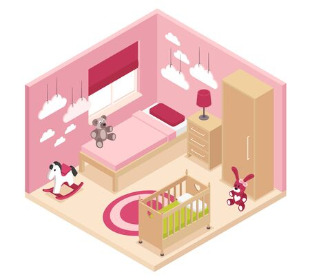 Cozy rose children room isometric interior with wardrobe bedside cabinet near bed baby cot and bunk bed vector illustration