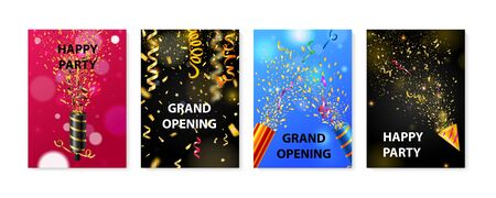 Four colorful party posters realistic set with poppers and serpentine isolated vector illustration Ilustración de vector