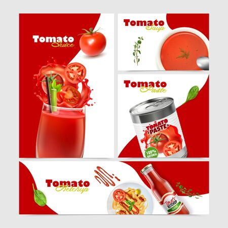 Realistic tomato collection with banners of different size and orientation with text and images of dishes vector illustration