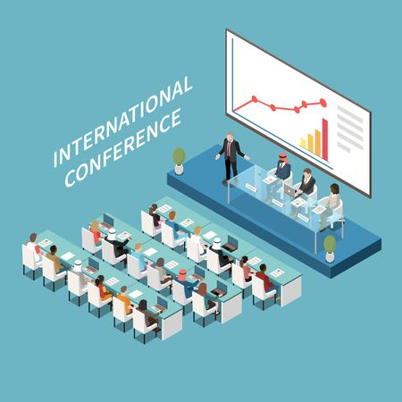 International conference hall big lcd screen presentation isometric composition with speaker and participants on podium vector illustration