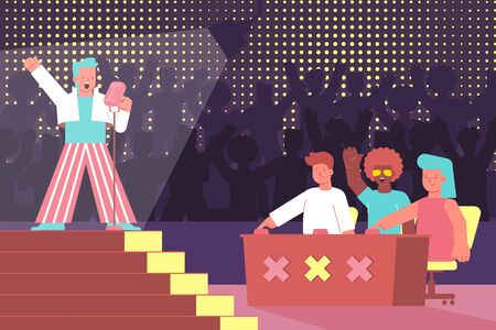 Vocal competition flat composition with voice singing competition and characters of judges with singer on stage vector illustration