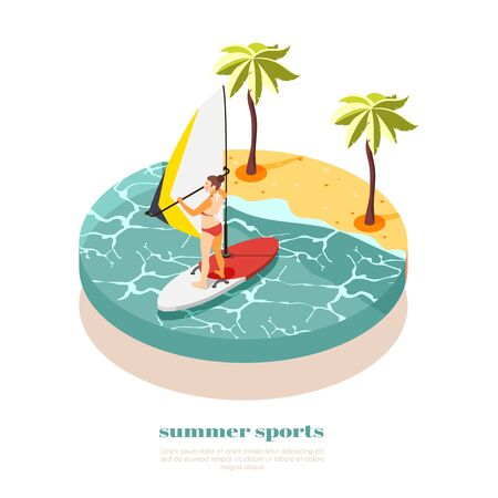 Windsurfing isometric composition with young woman in swimsuit on windsurf board  at south sea background vector illustration