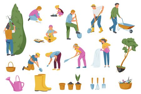 Spring gardening collection of isolated flat icons with gardening instruments ground plants and faceless human characters vector illustration 写真素材 - 143438921