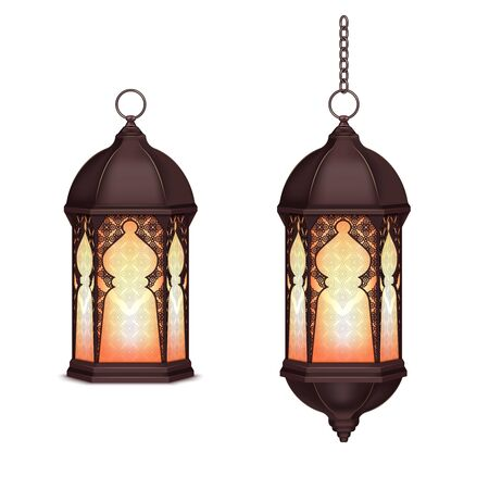 Ramadan lantern realistic set with two isolated images of lanterns with chains on blank background vector illustration