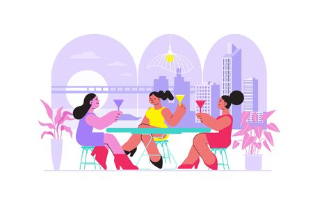 Friend woman cafe flat composition with outdoor urban cityscape and restaurant table with drinking female characters vector illustration