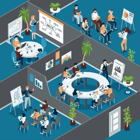 Isometric business training composition with indoor view of office rooms with groups of workers at tables vector illustration