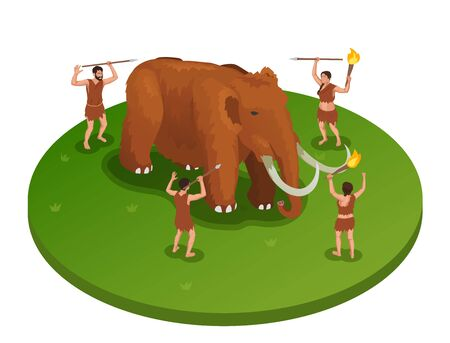 Caveman prehistoric primitive people isometric composition with image of mammoth being attacked by group of people vector illustration