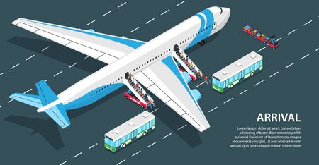 Passengers arriving at airport going down air stairs 3d isometric horizontal vector illustration