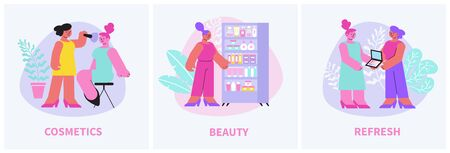 Cosmetic set of three square compositions with text and doodle style female characters with beauty products vector illustration 写真素材 - 143439658