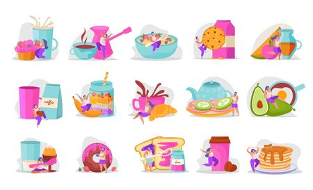 People with breakfast flat recolor icon set bright colors and adstract forms vector illustration Illustration
