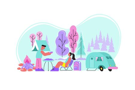 Bbq nature flat composition with outdoor landscape camper van and human couple having good time together vector illustration