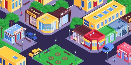 Isometric shops city composition with birds eye view of town district with streets and store buildings vector illustration