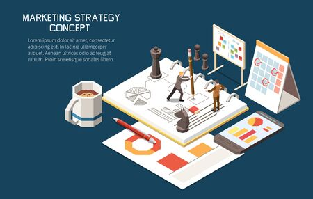 Marketing strategy concept isometric background with editable text and little human characters with plans and calendars vector illustration 向量圖像