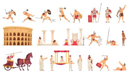 Cartoon icons set with colosseum gladiators and citizens from ancient rome isolated vector illustration
