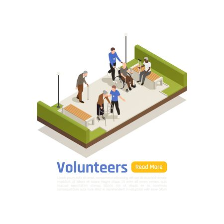Charity donation volunteering isometric background with disabled people in park with volunteer characters text and button vector illustration