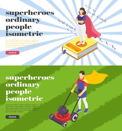 Ordinary people superheroes 2 background isometric web banners with science teacher and gardener wearing cape vector illustration